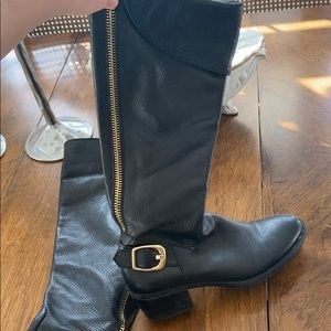 Vince Camuto Black Leather Boots 8.5